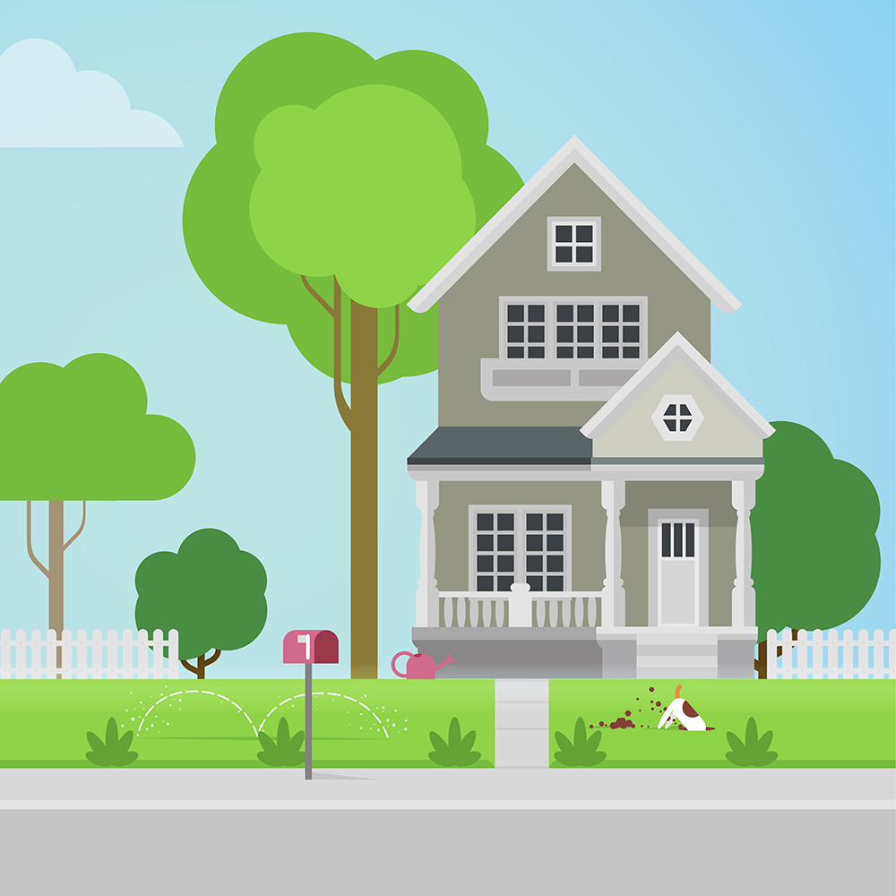 Graphic of suburban home with dog digging up grass out front